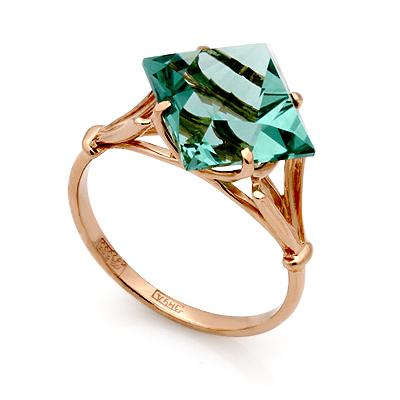 Кольцо из золота &mdash; <em><noindex>кварц</noindex> цвета аквамарина</em> 4.05 г SL-0255-292