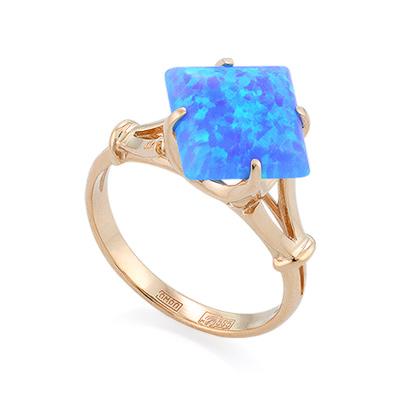 Кольцо с голубым синтетическим опалом из красного золота 3.2 г SL-0255-320