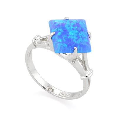 Кольцо с голубым синтетическим опалом из белого золота 3.2 г SL-0255-322