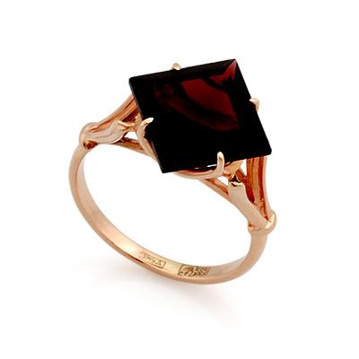Золотое кольцо с гранатом квадратной огранки 4.1 г SL-0255-366
