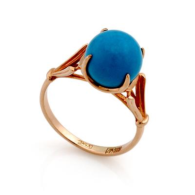 Кольцо с голубой бирюзой огранки шар 2.93 г SL-0259-293