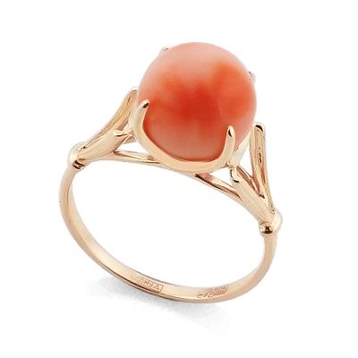 Кольцо с кораллом в форме шара 3.15 г SL-0259-315