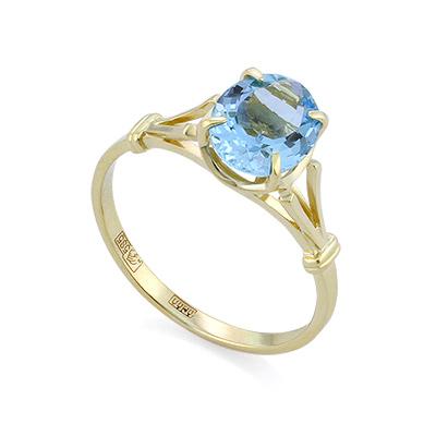 Золотое кольцо с натуральным аквамарином 2.23 г SL-0265-223