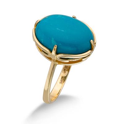 Золотое кольцо с бирюзой 4.75 г SL-0285-475