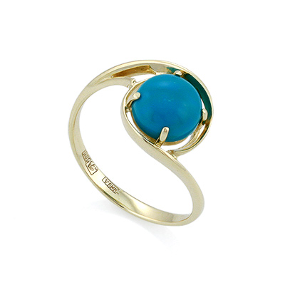 Золотое кольцо с бирюзой огранки кабошон 2.23 г SL-2125-223