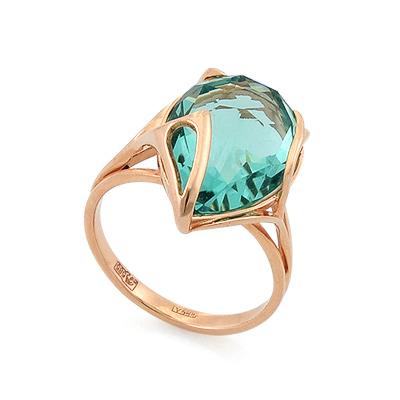 Кольцо из золота <em>с аквамариновым <noindex>кварцем</noindex></em> 5.4 г SL-2140-535
