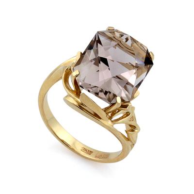 Золотое кольцо с крупным раухтопазом 7.5 г SL-2177-750