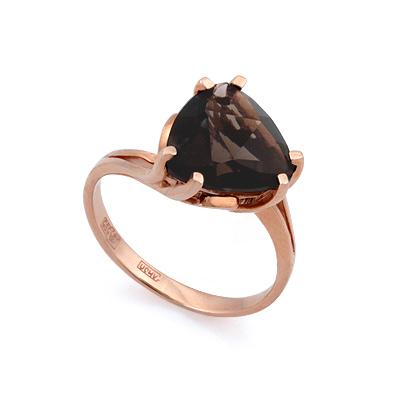 Золотое кольцо с раухтопазом огранки триллион 3.54 г SL-2843-354