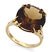 Золотое кольцо с раухтопазом круг 6.2 г SL-2847-620