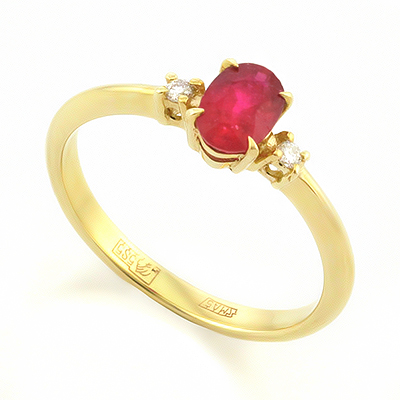 Кольцо с рубином в желтом золоте 2.1 г SLR-0213-210