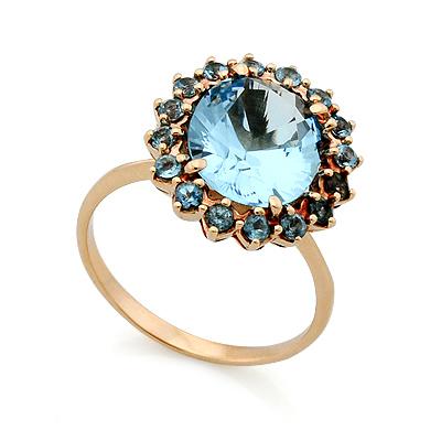 Кольцо с топазами (голубыми) 5.51 г SV-0393-551