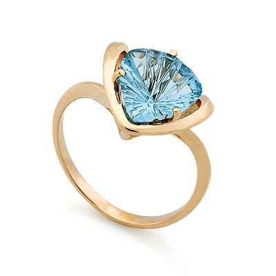 Кольцо с топазом (голубым) 3.71 г SV-0445-371