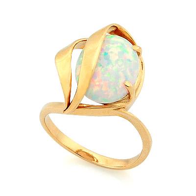 Золотое кольцо с молочным опалом   3.96 г SV-0465-396