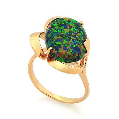 Золотое кольцо с зеленым опалом 4.95 г SV-0475-495