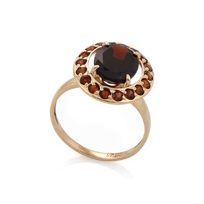 Золотое кольцо с крупным гранатом в окружности более мелких 3.12 г SL-0505-312