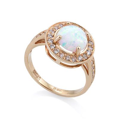 Золотое кольцо с опалом и фианитами 3.4 г SV-0506-328