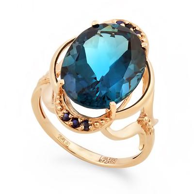 Золотое кольцо с сапфирами и лондон топазом 5.75 г SV-0552-575