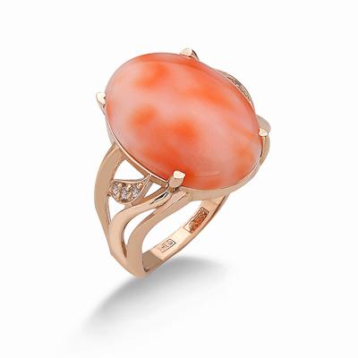 Кольцо с натуральным кораллом 5.07 г SV-0567-507