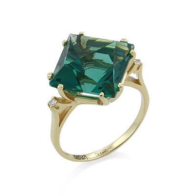 Золотое кольцо &mdash; <em><noindex>кварц</noindex> цвета аквамарина</em> и бесцветные топазы 4.72 г SL-2117-472