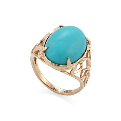 Перстень с натуральной бирюзой огранки кабошон 7.08 г SL-2274-708